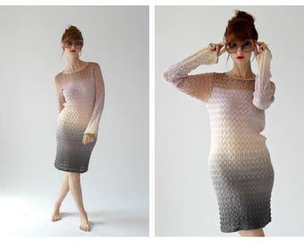 MISSONI Pastel Ombre Knit Dress- Sweater, Boho Chic, Designer, Chevron, Stretch Dress