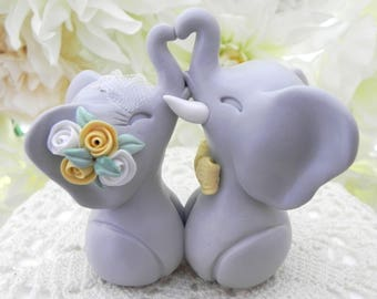 Wedding Cake Topper, Elephants in Love, Grey and Yellow, Bride and Groom Keepsake