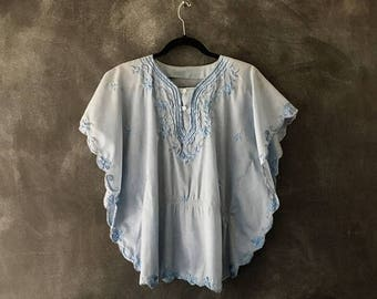SALE 70s Baby Blue Flutter Sheer Blouse Top Poncho Butterfly Boho Hippie Bohemian Top Ladies S/M