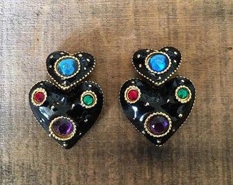 SALE 80s 90s Black Enamel Heart Rhinestone Clip On Statement Earrings