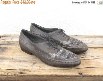 20% Off Sale Grey Leather Huarache Brogues Oxford Mens Size 7.5, Ladies 8.5