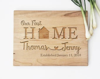 Our First Home Cutting Board, Newlywed Wedding Gift Idea, Cutting Board Wedding Gift, First Home Gift, Personalized Cutting Board