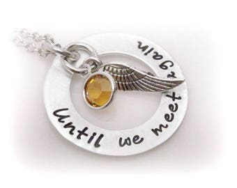 Memorial Jewelry Miscarriage Necklace, Angel Wing Necklace For Lost Loved One, Sympathy Gift, Until We Meet Again Stamped Necklace