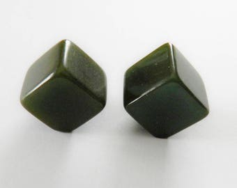 Bakelite Buttons Cube Forest Green