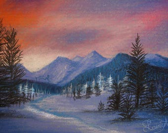 Sunset Landscape - ACEO soft pastel drawing - All proceeds to charity - vibrant, colorful, sunrise - Card, original drawing