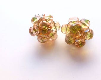 Vintage Crystal Earrings, Beaded Clip On Jewelry, Peach Green Crystal Clusters, 1950's Hand wired Earrings