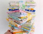 Vintage Sheet Scraps / 6 Ounces / Scrap Pack / Quilting Fabrics
