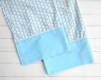 Vintage Pillowcase Set / Blue Floral  / Vintage Linens / Vintage Bedding