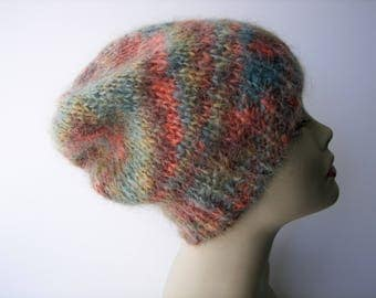 Luxury Mohair Hand Knit slouch Beanie hat in Taupe Blue Swirl / Italian mohair knit hat / Ready to ship Soft Warm Knit Hat