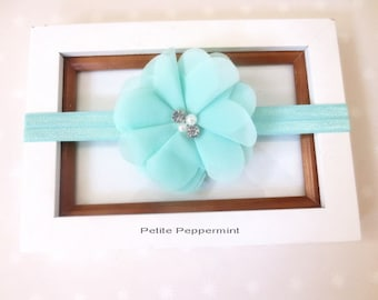 Aqua Baby Headband, infant headband, toddler headband, baby hair bow, girl hair bow, newborn headband, mint green baby head band
