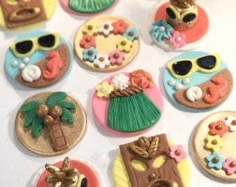 Hawaiian Fondant Cupcake, Cake, Cookie Toppers. Set of 12