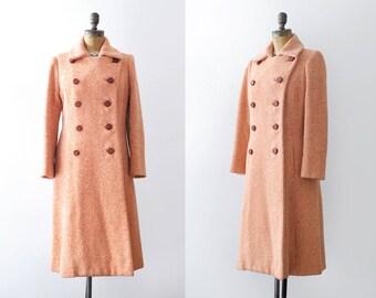 1970's Orange Tweed Coat. 70 pea coat. medium. Buttons. Cream.
