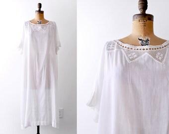1910's cotton nightgown. Edwardian white gown. Crochet lace. XXL dress.