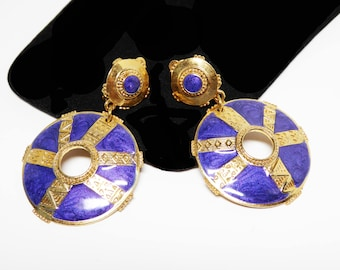 Berebi' Dangling Etruscan Disk Earrings - Gold Tone, Blueish Purple  Tone Enamel - Etruscan Clip on Earrings - Retro 1980s 1990s Vintage