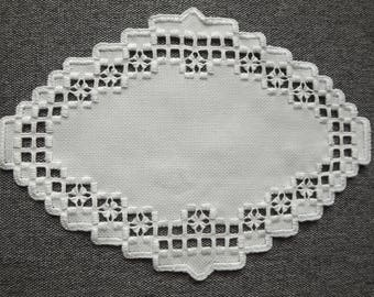 Hardanger Doily Centerpiece - White on White with cut out detail