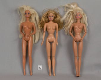 Three Dolls Barbie Fashion all Blonde hair blue eyes and opened mouths