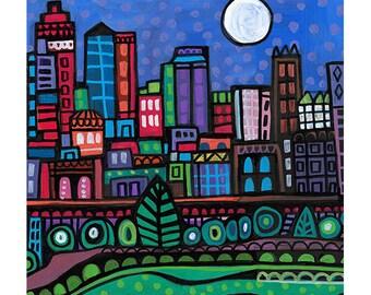 Kansas City Skyline art Tile Ceramic Coaster Mexican Folk Art Print of painting by Heather Galler City Missouri