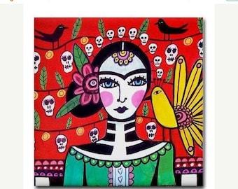 45% Off Today- Day of the Dead Art Ceramic Tile Frida Kahlo Mexican Folk Art  Sugar Skulls Coaster