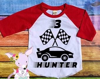 Birthday Shirt Race Car birthday number Age birthday shirt Two One Three Four Racing Sports party shirt Race Car Number birthday Birthday