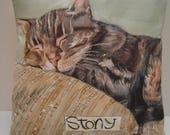 Custom Order for Cat Portrait Pillow 14x14 Memorial