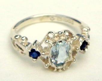 Vintage Ring, Aquamarine & Blue Sapphire Ring, Diamond Cut Stone, Edwardian Design, Engagement, Pinky Ring