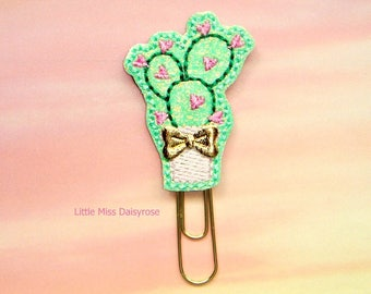 Pink Cactus Glitter Planner Clip Paperclip