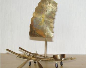 Chinese Brass Sampan Boat Incense Burner