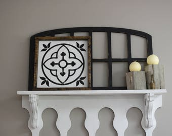 Mexican Tile Distressed Framed Wood Sign