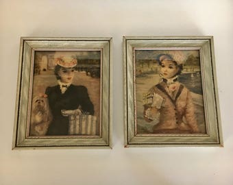 Vintage Huldah Framed Prints 1940's 1950's era In Central Park Les Deux Camarades Charming