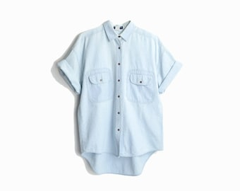 Vintage 90s Chambray Boyfriend Shirt in Light Blue / Cotton Chambray Shirt - men's small