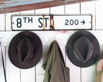 """Old Porcelain Enamel Metal """"8th St"""" Street Sign - Black & White with Nice Distressed Patina"""