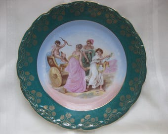 German KPM Porcelain Cabinet Plate Teal Green Vintage Three Graces Portrait