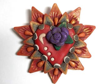 Sacred heart brooch with purple roses by Marie Segal