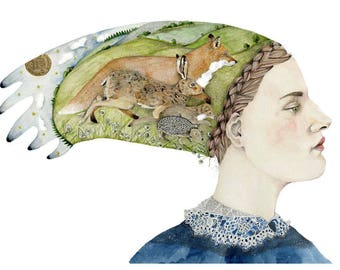Woodland Animal Head-dress print Giclee print of Fox, Hare, Pine Martin and Hedgehog on head-dress