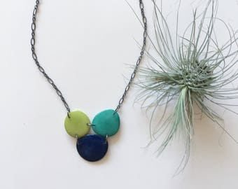 Navy blue necklace. Tagua nut jewelry. Aqua blue lime green. Turquoise Necklace. Tagua nut jewelry. Tagua necklace. Green. Sela Designs