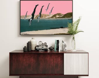 Diving Print, Surreal Art, Pink and Teal Wall Art - Dive