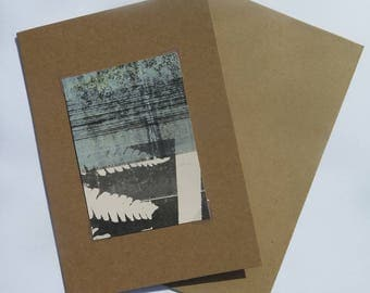 Small original hand printed abstract botanical fern mini print ACEO Soft dusky yellow green & black on cream paper Stef Mitchell