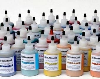 Glassline Pens Glass Paint 2 OZ Bottles Fusing - Available in 33 Vibrant Colors!