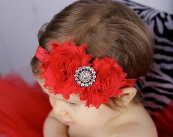 ON SALE Red Shabby Chic Headband.......newborn headband......infant headband