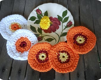 Cotton Facial Scrubbies. Wildflower Collection. Baby Pure Cotton Crocheted Round Facial Wash cloths. orange, yellow, red, white, floral