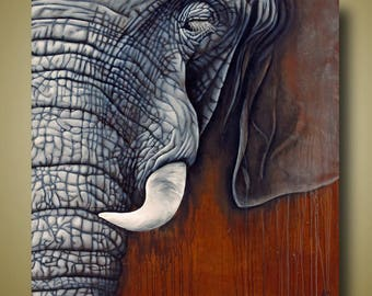 PRINT or GICLEE Reproduction -- Elephant Closeup - Realistic Elephant Face - 12x12 or 18x18 sizes - Revering Tembo