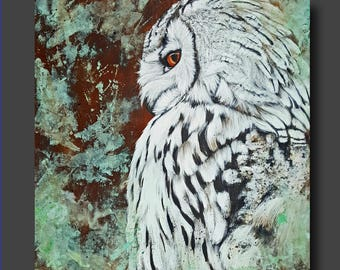 Mixed Media Owl Painting - Realism - Snowy Owl - Real Rust and Patina - Modern Contemporary Animal Art by Britt Hallowell