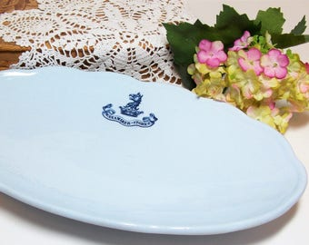Blue John Wanamaker Oval Scalloped Dish Made in Germany