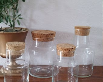Glass Storage Jars, vintage kitchen jars with cork lids, kitchen chemistry, pilgrim glass