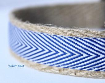 Blue & White Chevron Collar, Adjustable Dog Collar, Stripe Dog Collar, Chevron Dog Collar, Dog Collar, Summer Dog Collar, Nautical Collar