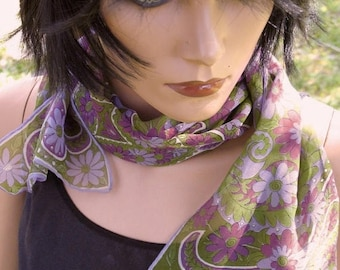 Gorgeous Hand Rolled Edge Silk Chiffon  1967 Vera Ladybug Signature Pop Art Floral  Oblong Scarf  14 1/2 x 45 Inches Long
