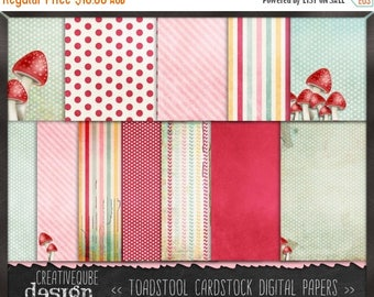 80% Off SALE Digital paper, Digital Scrapbook paper pack - Instant download - 12 Digital Papers - Toadstool Shabby Chic