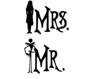 Nightmare Mr. and Mrs. Vinyl Decal Sticker