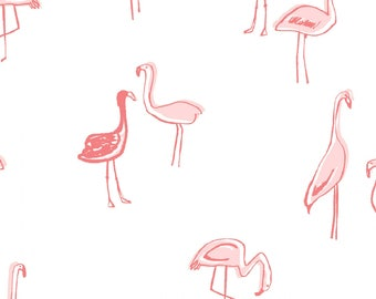 White and Coral Flamingo Cotton Spandex Jersey Knit, Dear Stella Knits Collection, 1 yard