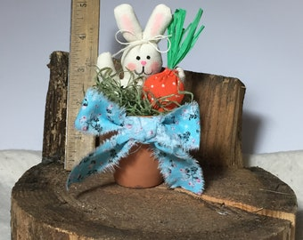 Bunny with Carrot in a Flower Pot